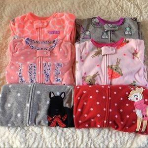 Bundle of 6 Fleece Footed Pajamas, 12 Months Girl